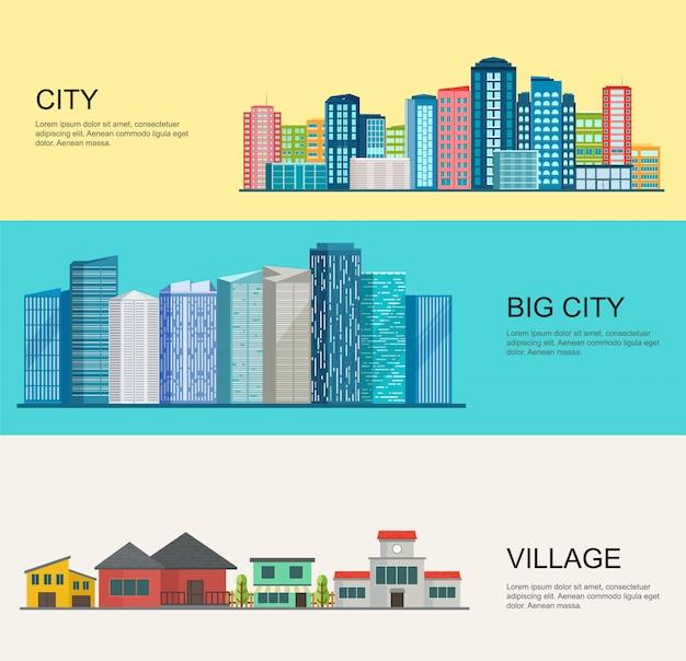 Urban and village landscape, big modern city