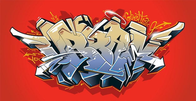 Urban - wild style graffiti 3d blocks with juicy colours on red background. street art graffiti lettering. vector art.