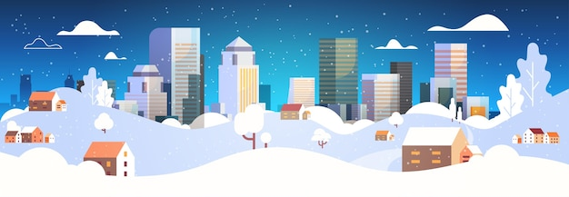 Urban winter landscape snowy night street christmas poster new year holidays concept modern cityscape