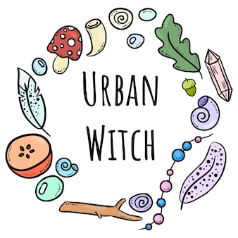 Urban witch lettering with colorful doodles