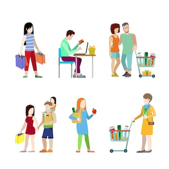 Urban young people shopping cart grocery couple family  web infographic concept  icon set.