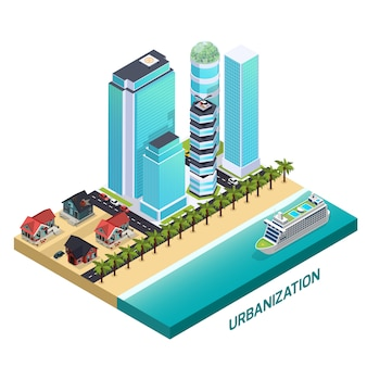 Urbanization isometric composition