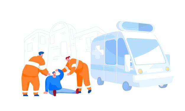 緊急救急車のヘルプ、救急救命士の職業、道路の衝突。通りの地面に座っている負傷した男性の応急処置を支援するオレンジ色の制服を着た救助隊のキャラクター。漫画の人々