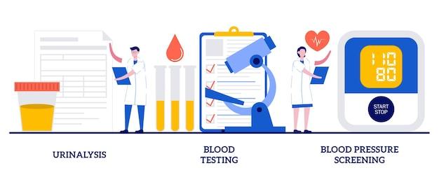 Urinalysis, blood testing, blood pressure screening. set of clinical laboratory analysis
