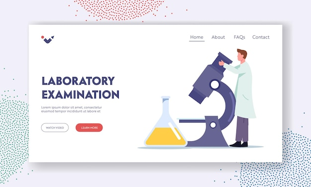Urine test examination for pyelonephritis landing page template. check up in hospital or clinical laboratory. tiny doctor character research urine on huge microscope. cartoon vector illustration