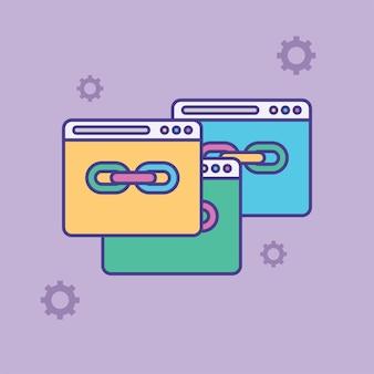 Urlリンクベクトルアイコンハイパーリンクチェーンシンボルインターネットurlまたはウェブページurlリンクフラットベクトル
