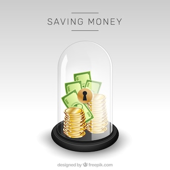 Urn background with money and banknotes