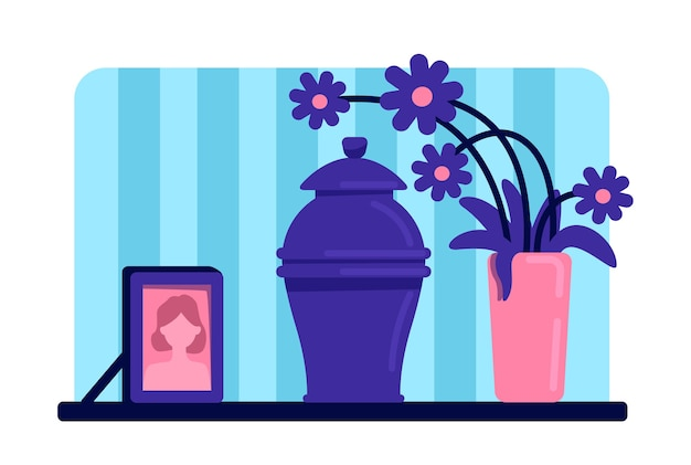 Urn with ashes flat color . funeral tradition. dead woman portrait and flowers on table. home living room 2d cartoon interior with deceased female picture on background