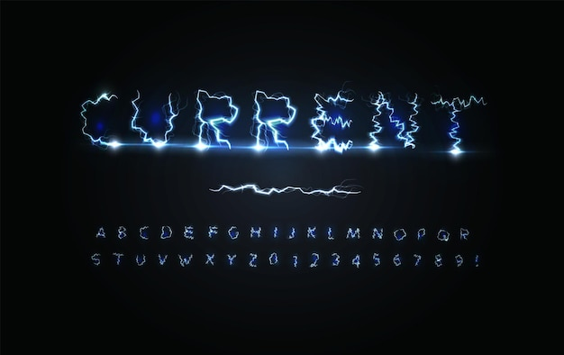 Urrent power letters and numbers set blue lightning strike stormy weather style electricity alphabet