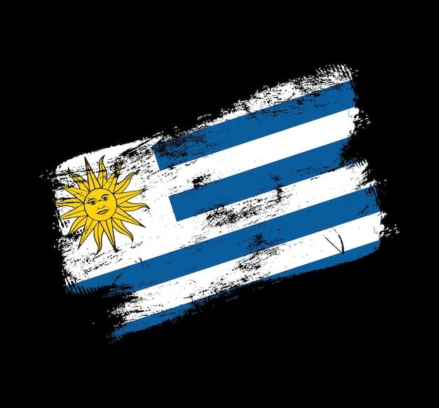 Фон кисти гранж флаг уругвая. старый флаг кисти векторные иллюстрации. абстрактное понятие национального фона.