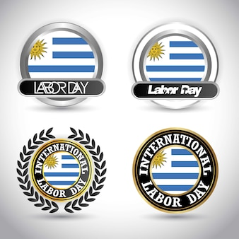 Uruguay flag with labour day design vector