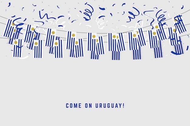 Уругвайский флаг гирлянды с конфетти на сером фоне.