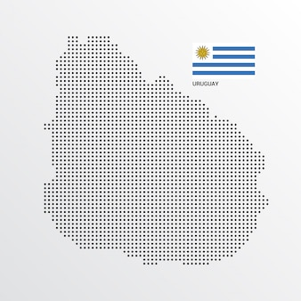 Uruguay map design with flag and light background vector