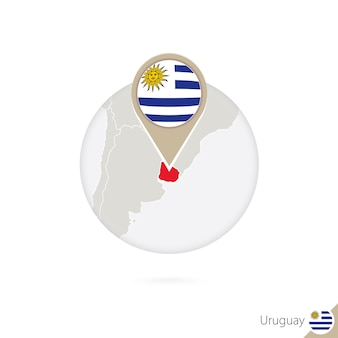 Uruguay map and flag in circle. map of uruguay, uruguay flag pin. map of uruguay in the style of the globe. vector illustration.