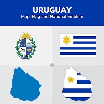 Uruguay map, flag and national emblem