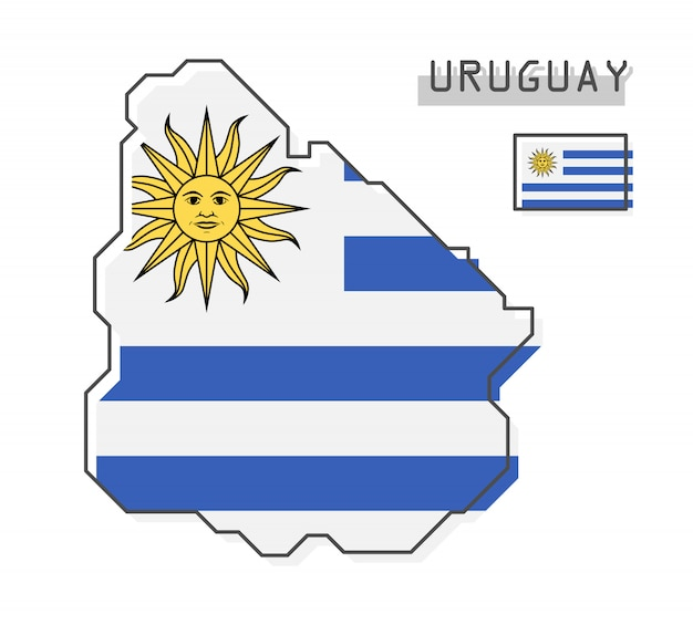 Uruguay map and flag