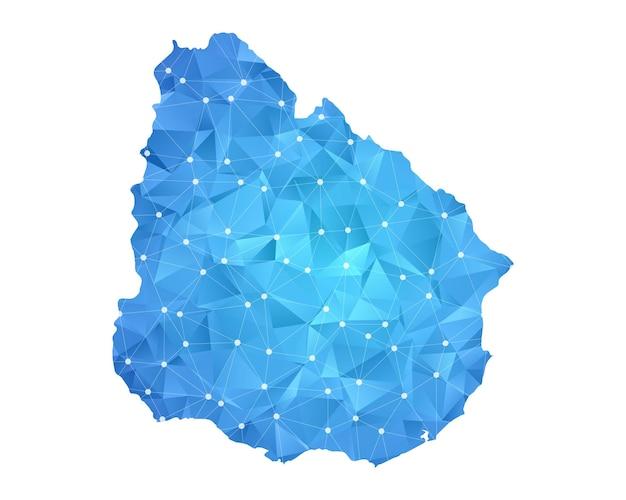 ウルグアイの地図の線の点は多角形の抽象的な幾何学的です。