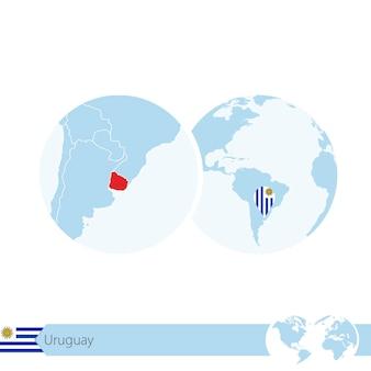 우루과이의 국기와 지역 지도가 있는 세계 세계의 우루과이. 벡터 일러스트 레이 션.