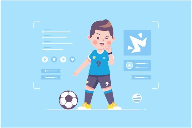 ウルグアイのサッカー選手のかわいいキャラクターデザイン