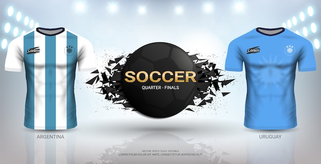 Uruguay vs argentina soccer jersey template.