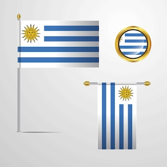 Uruguay waving flag design with badge vector
