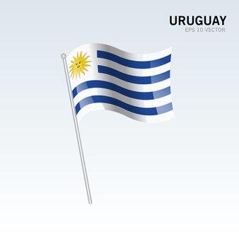 Uruguay waving flag isolated on gray background