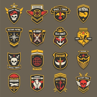 Us army chevrons, military emblems, marine and air forces badges.