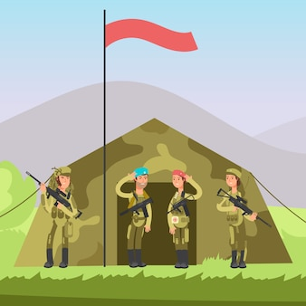 Солдат армии сша с ружьем в форме.