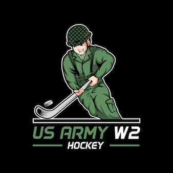 Us army world war 2 hockey vector illustration