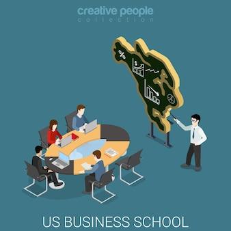 米国のビジネススクールフラットアイソメトリック