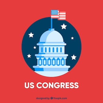 Us congress building with flat design