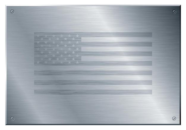 Us flag on brushed metal plate illustration