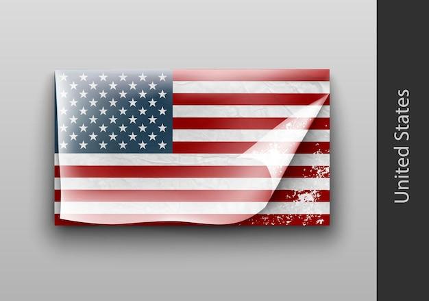 ボロボロのマスキングテープで米国旗。