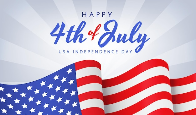 미국 독립 기념일 배너 또는 포스터 파란색에 국기