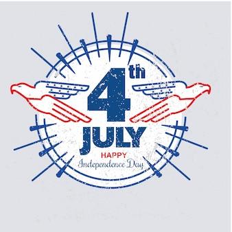 독수리와 미국 독립 기념일 그런 지 또는 빈티지 스타일 템플릿 라운드