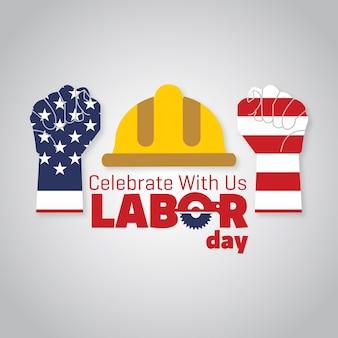 アメリカの旗はタイポグラフィーで労働の手に刻まれた労働者の日9月4日米国の州アメリカの労働日のデザイン美しいアメリカの旗構成労働日ポスターデザイン白と灰色の背景