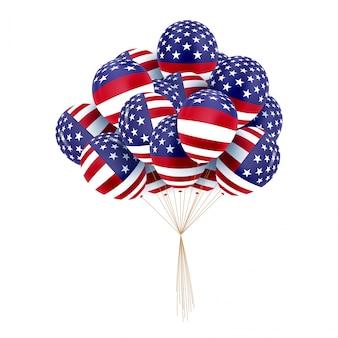 米国の愛国的な風船。 7月4日のための特別な色の風船。マーティンルーサーキングデイ。国のナショナルカラー。