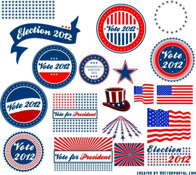 Us presidential election stickers
