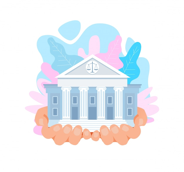 Us supreme court building flat vector illustration
