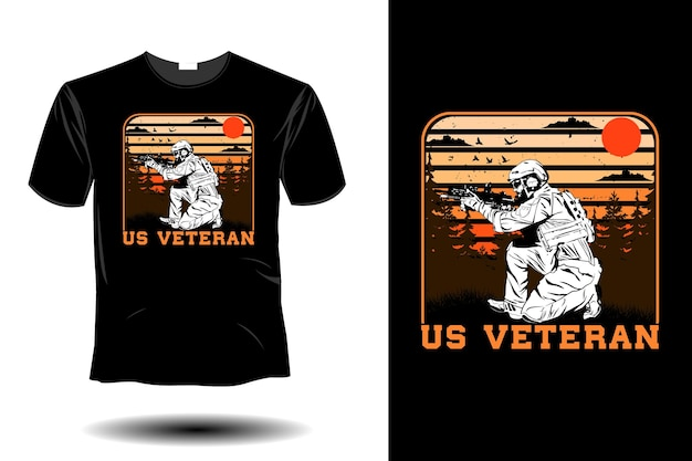 Сша ветеран макет ретро винтаж дизайн