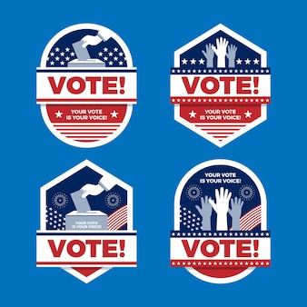 Collezione di badge di voto degli stati uniti