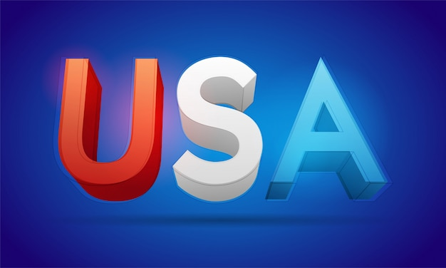 Usa 3d text vector illustration