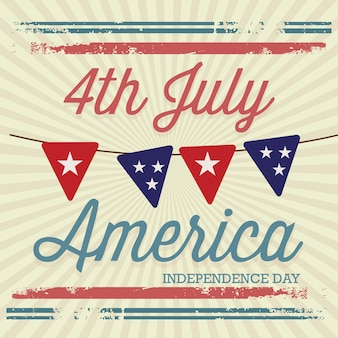 Usa (4th july commemorative poster) vintage style