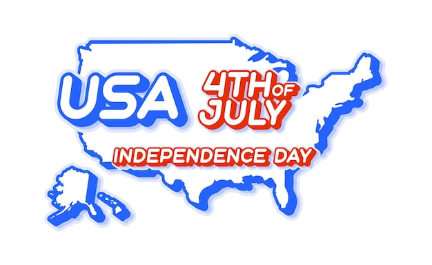 Usa 4th of july independence day with map and usa national color 3d shape of us
