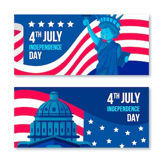 Usa 4th of july white house banners