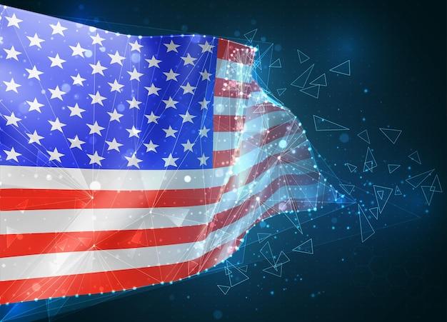 Сша, америка, флаг, виртуальный абстрактный трехмерный объект из треугольных многоугольников на синем фоне