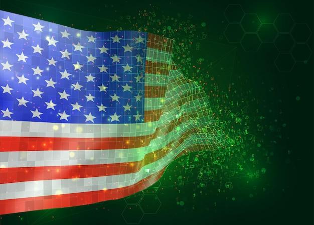 アメリカ、アメリカ、ポリゴンとデータ番号と緑の背景のベクトル3dフラグ