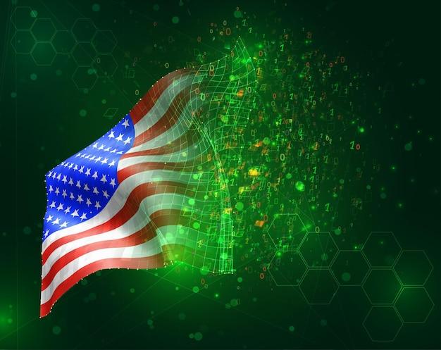 アメリカ、アメリカ、ポリゴンとデータ番号と緑の背景にベクトル3dフラグ