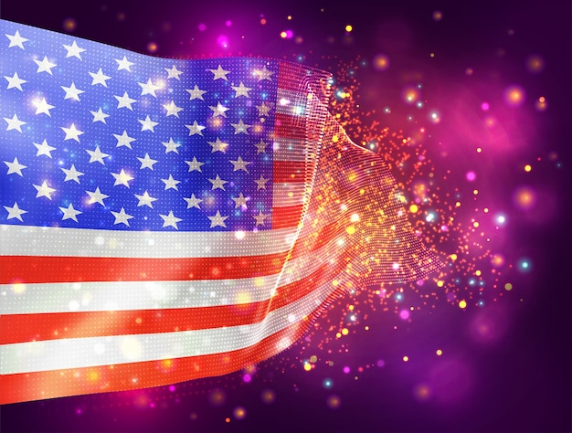 宇佐、アメリカ、照明とフレアとピンク紫の背景にベクトル3dフラグ
