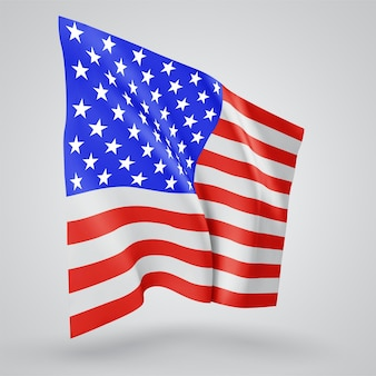 宇佐、アメリカ、白い背景の上の風に手を振る波と曲がりのベクトルフラグ。